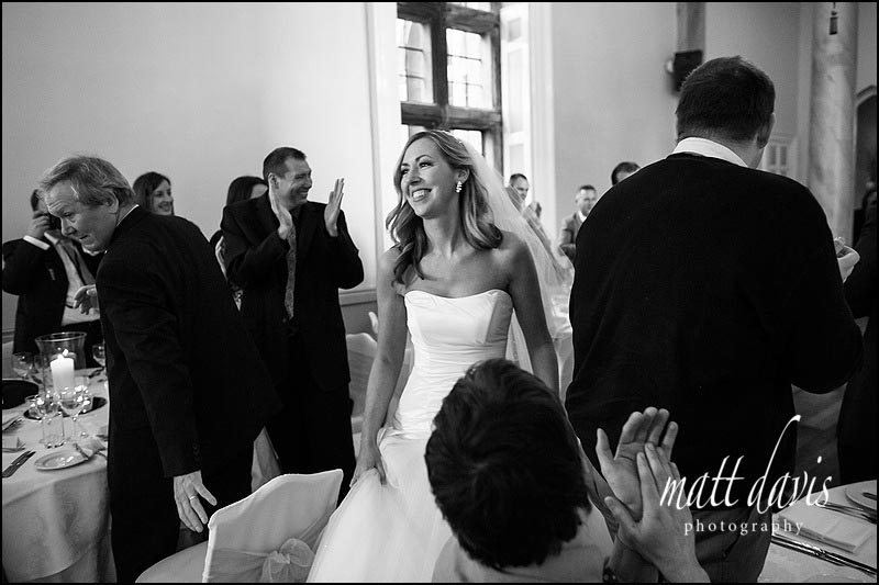 bride at Clearwell Castle wedding breakfast