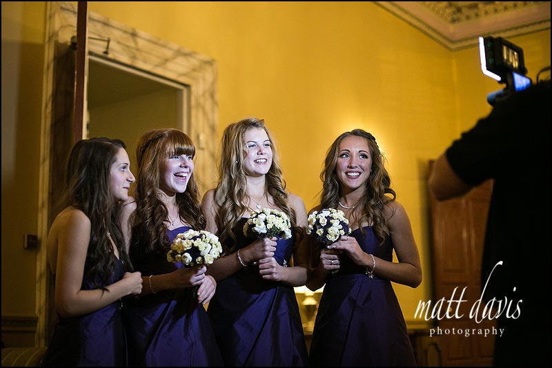 videographer at Clearwell Castle interviewing bridesmaids