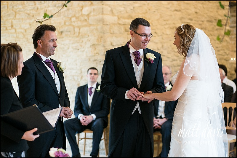 civil wedding ceremony at Kingscote Barn