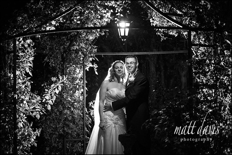 Kingscote Barn wedding photo at night
