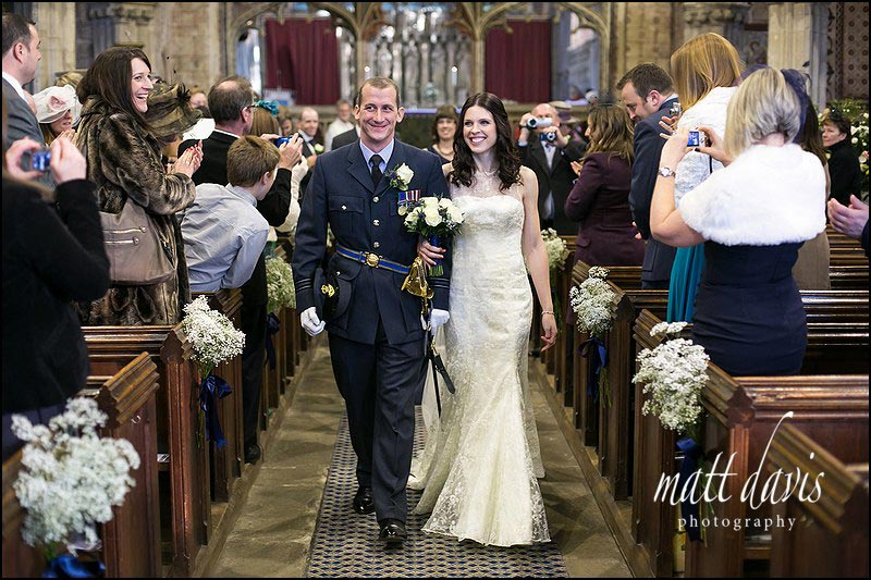 Married couple leaving Berkeley Church, Gloucestershire