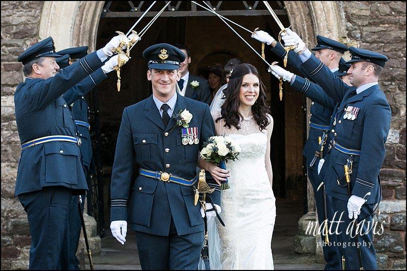 Military wedding at Berkeley Church, near Berkeley Castle, Gloucestershire