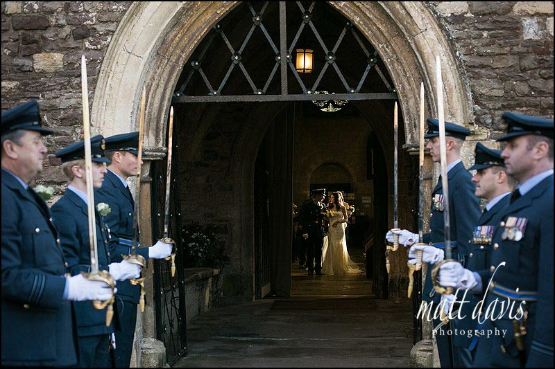 Military Gaurd Of Honour during winter wedding at Berkeley Church, Gloucestershire