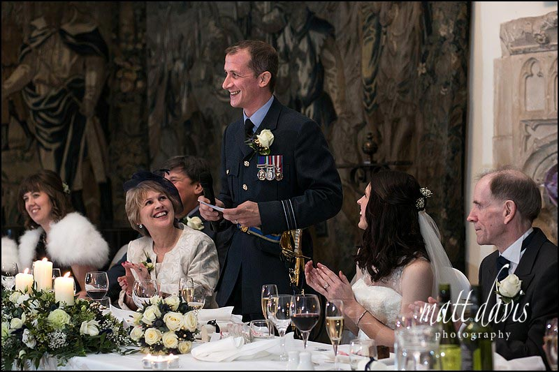 military wedding speeches at Berkeley Castle