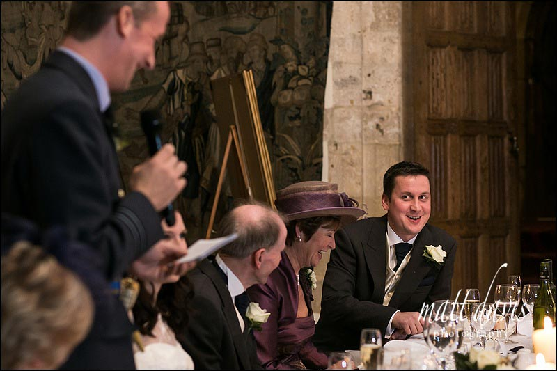 wedding speeches at Berkeley Castle in the winter