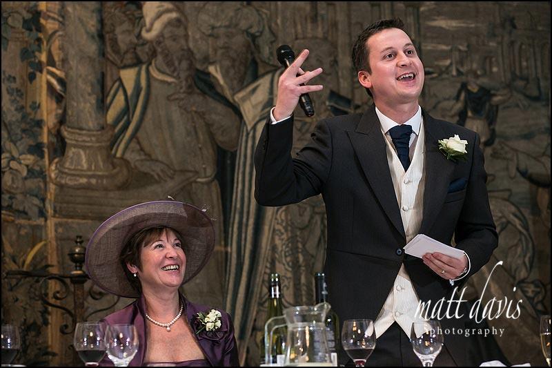 wedding speeches inside at Berkeley Castle