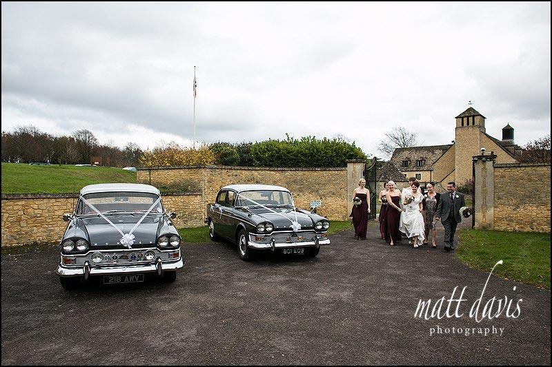 vintage wedding cars at Stanton House Hotel wedding