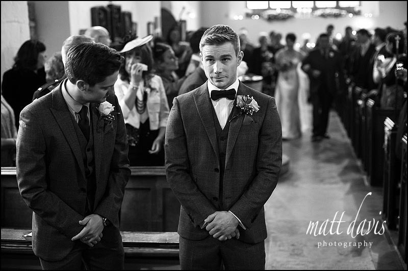nervous groom at St Leonard's church near Stanton House