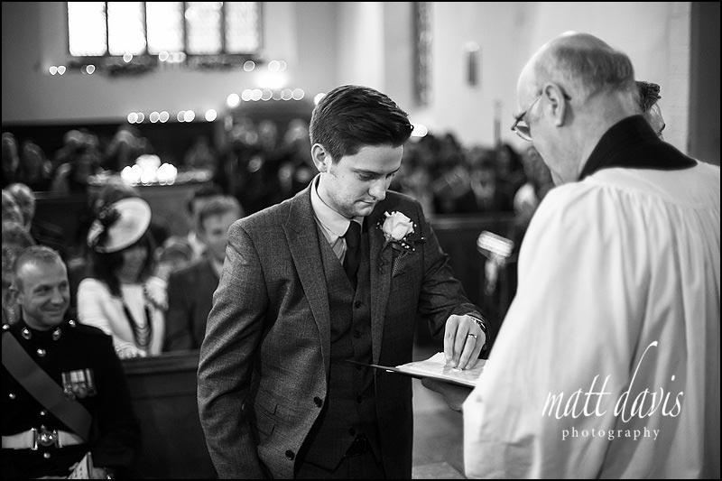 Best mans giving rings to vicar at St. Leonard's Church, Stanton Fitzwarren
