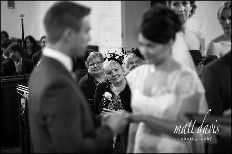 Brides mum watching wedding ceremony at St. Leonard's Church, Stanton Fitzwarren