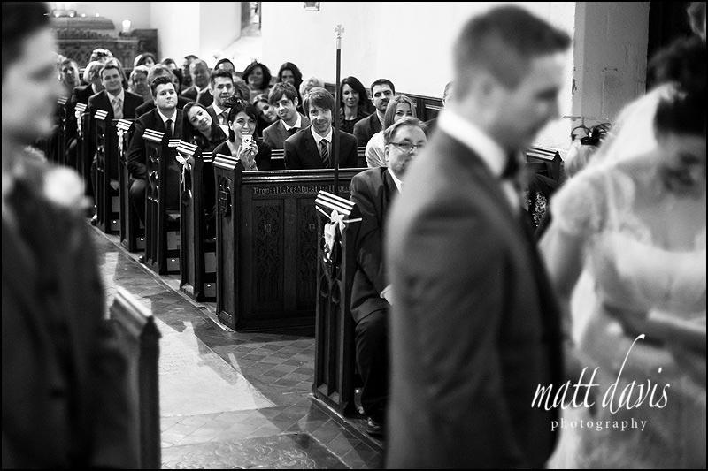 Wedding guests at St. Leonard's Church, Stanton Fitzwarren, near Swindon
