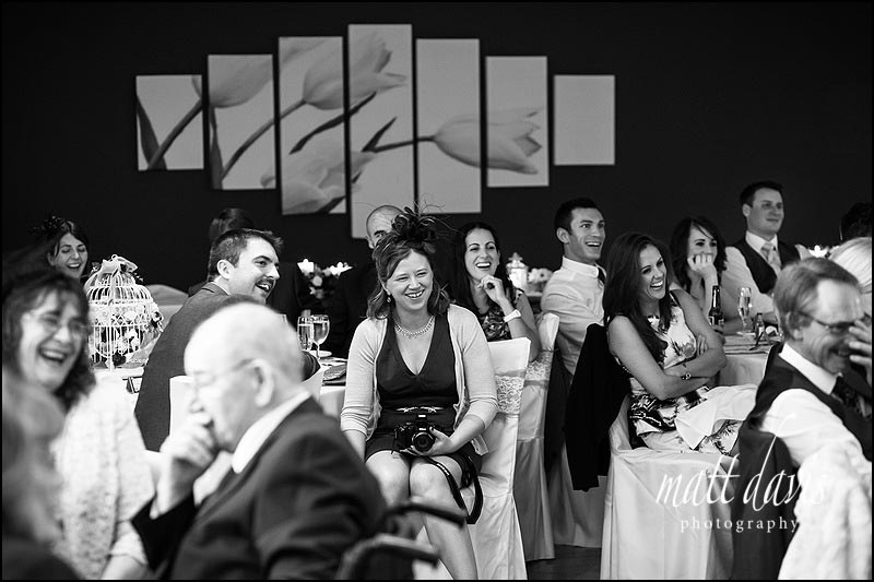 Wedding guests during speeches at Stanton House