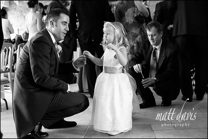 Black and white photos from weddings at Kingscote Barn