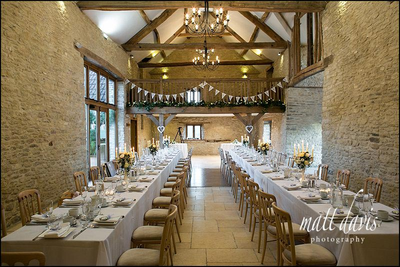 Table layouts for weddings at Kingscote Barn