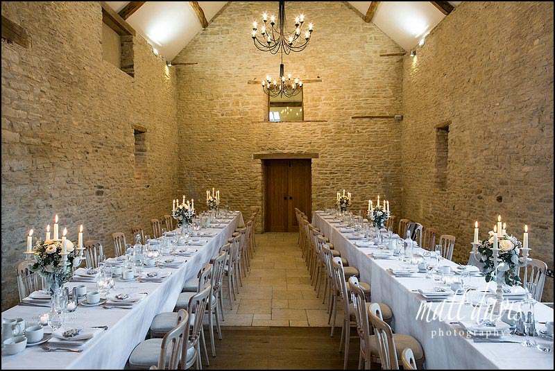 Banquet table layout at Kingscote Barn