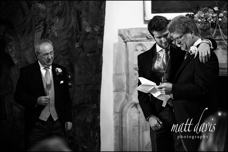 Emotional wedding speeches at Berkeley Castle, Gloucestershire