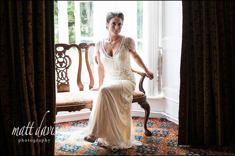 Gloucestershire wedding photographer Matt Davis took this stunning bridal portrait of bride in Jenny Packham wedding dress