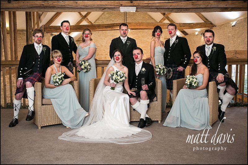 Red Nose Day Wedding at Kingscote Barn
