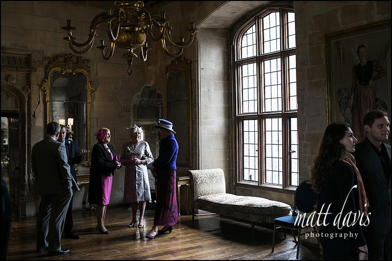 wedding guests waiting at Berkeley Castle