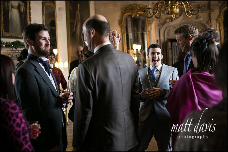 Wedding guests in the drawing room at Berkeley Castle