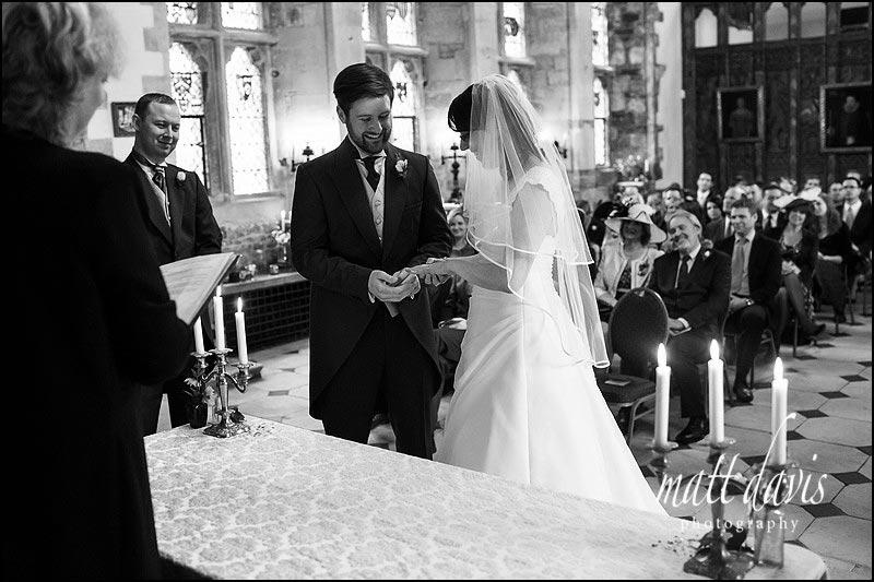 Wedding ring exchange at Berkeley Castle