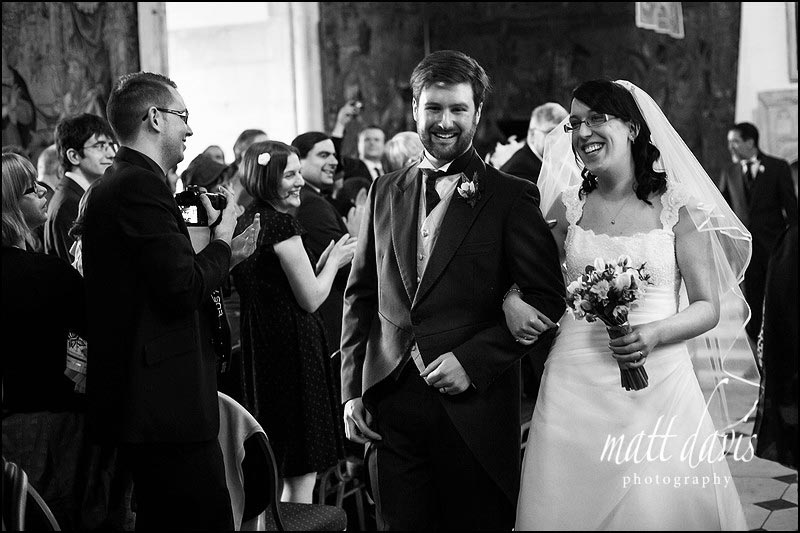Black and white wedding photo of a Wedding at Berkeley Castle