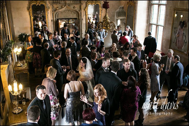 Wedding guests mingle at a Wedding at Berkeley Castle