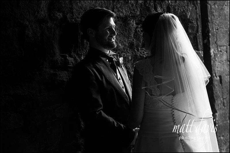 Black and white wedding photos at Berkeley Castle