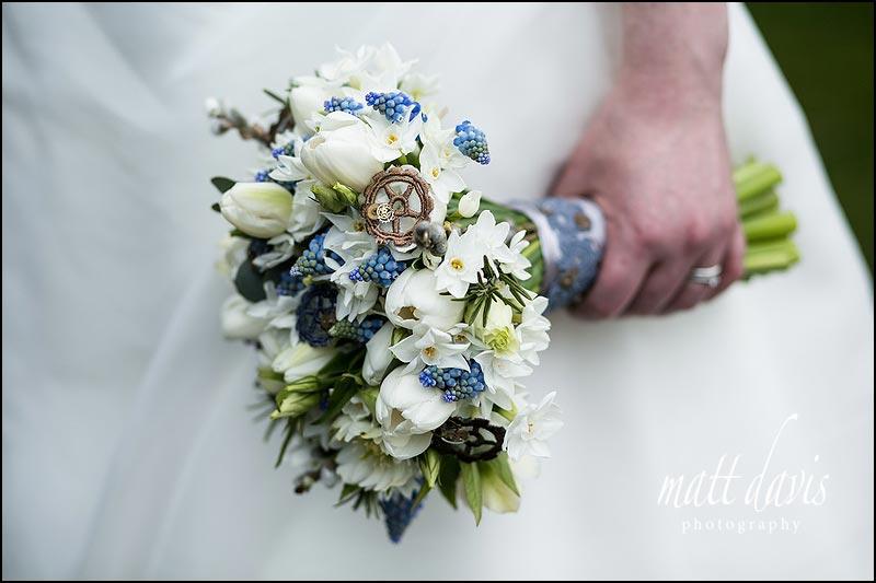 Winter wedding bouquet with bluebells