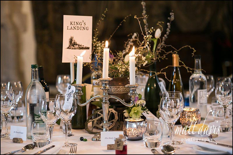 Candle arbors on wedding table