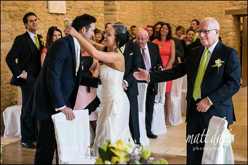 Emotional wedding photography at Kingscote Barn