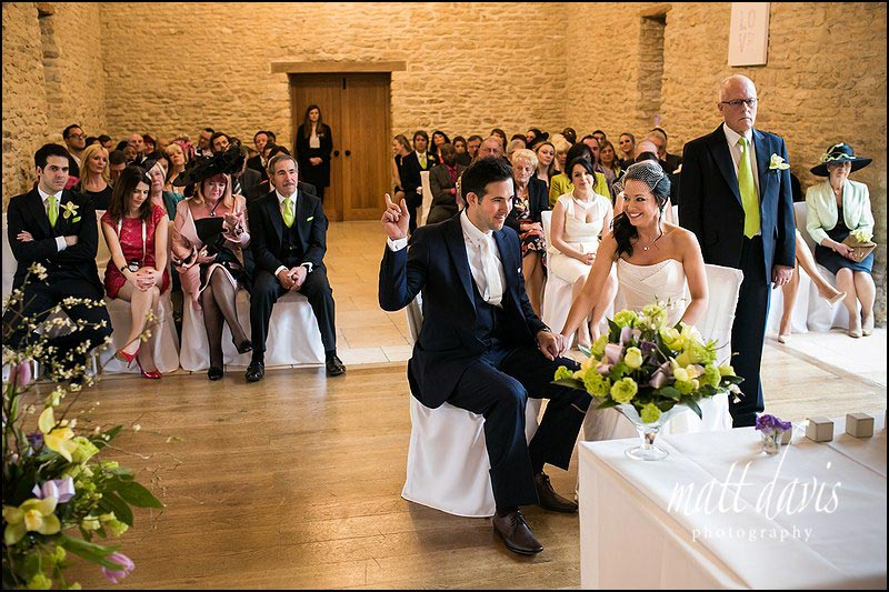 The wedding ceremony room at Kingscote Barn