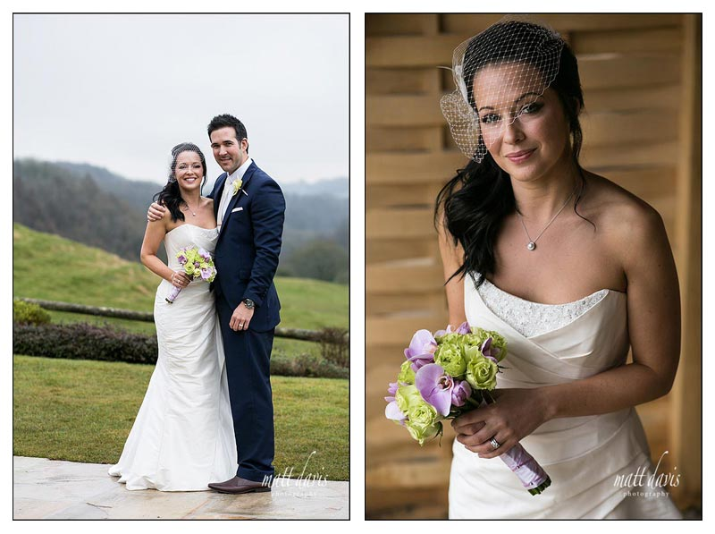 Outdoor wedding photos in winter at Kingscote Barn