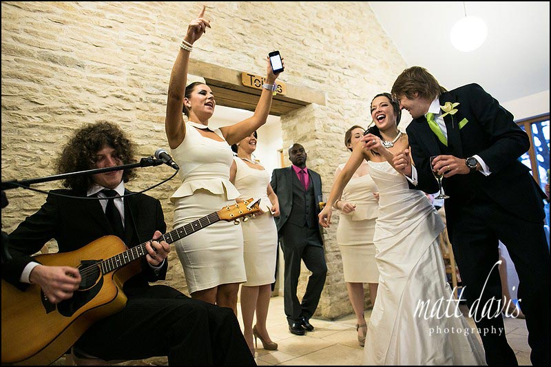 Couples partying at a Wedding at Kingscote Barn