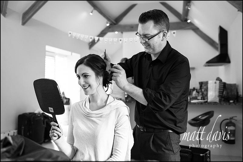 Wedding hair by Chris Fordham at Kingscote Barn