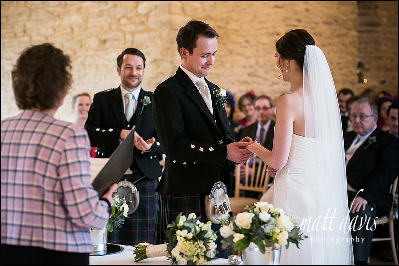 Weddings ceremony at Kingscote Barn