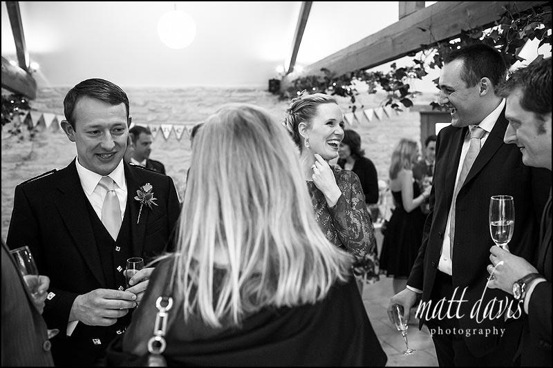 Guests enjoying a Wedding at Kingscote Barn