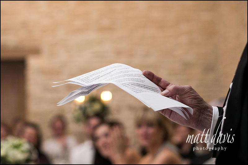 Detail of wedding speech