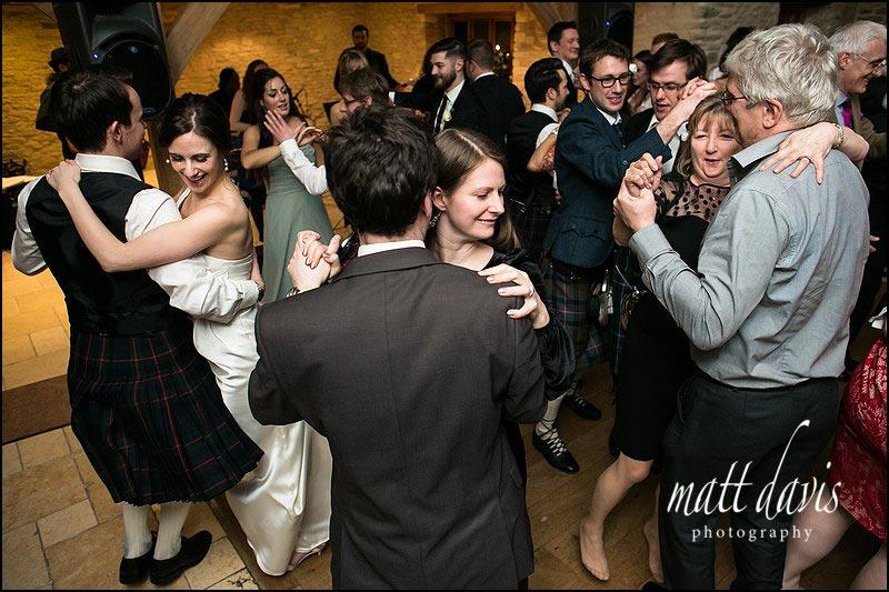 Scottish ceilidh dancing at Kingscote Barn