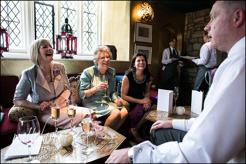 Wedding guests at Ellenborough Park enjoying a drinks reception