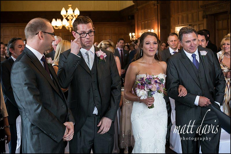 Groom with tear in eye at Dumbleton Hall wedding