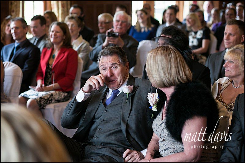 Brides father crying at their wedding at Dumbleton Hall