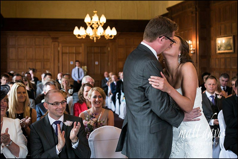 The wedding kiss at the end of a wedding ceremony