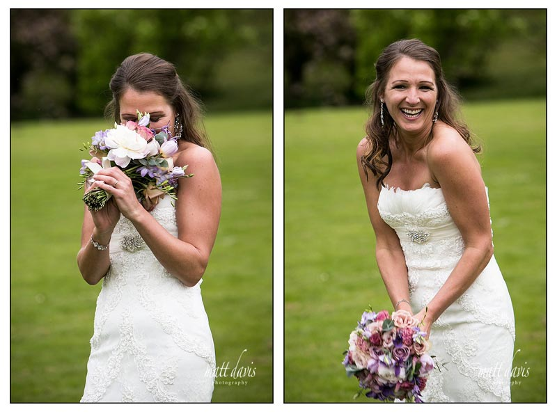 wedding photo of bride and english flower wedding bouquet