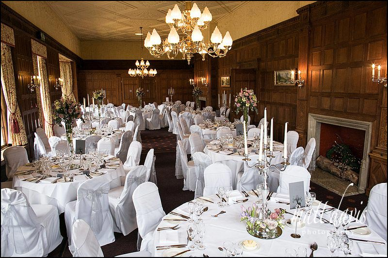 Inside Dumbleton Hall set for the wedding breakfast