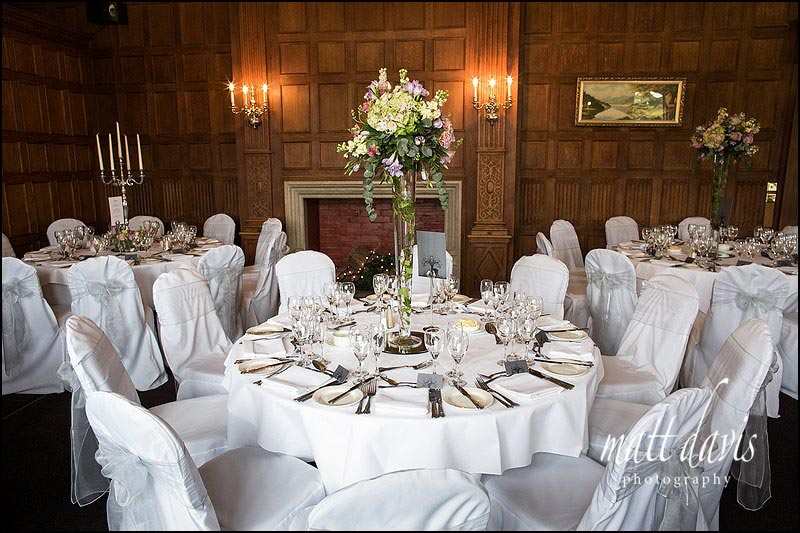 table arrangements at Dumbleton Hall wedding