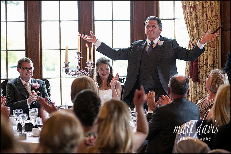 Father of the brides speech, on the round top table at Dumbleton Hall