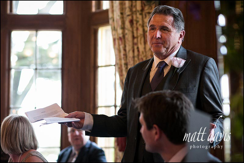 Fathers speech at Worcestershire wedding taken using natural light