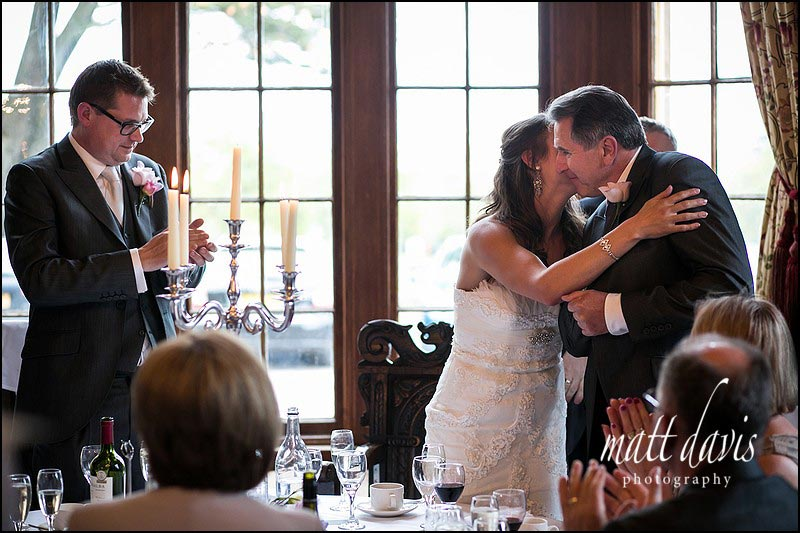 Bride kisses father after wedding speech