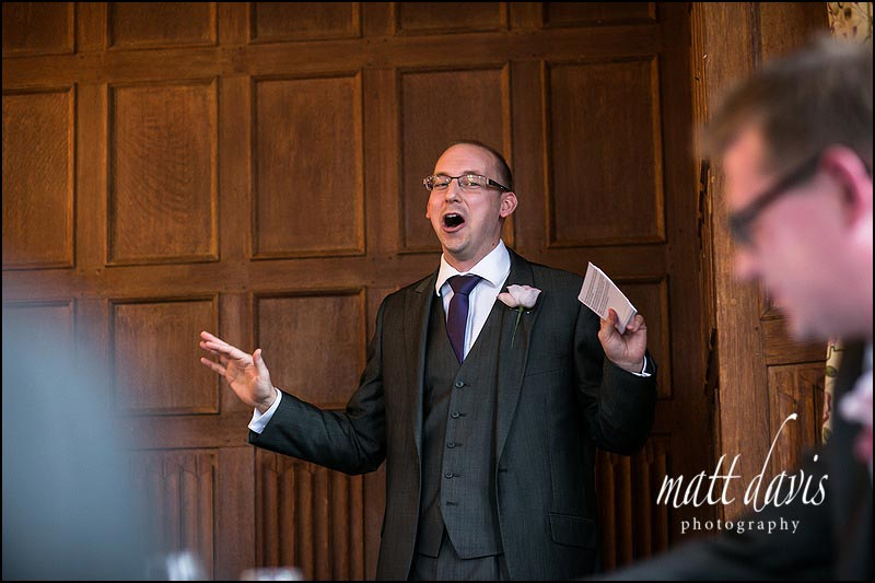 Best mans speech in the main room at Dumbleton Hall, Worcestershire